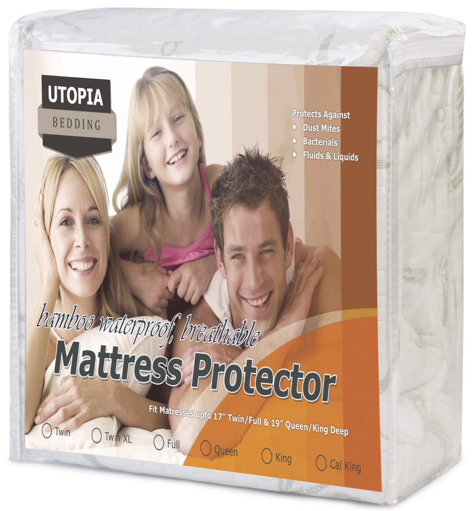 Utopia Bedding Waterproof Bamboo Mattress Protector - Hypoallergenic Fitted Mattress Cover - Breathable Cool Flow Technology - Vinyl Free (Twin)