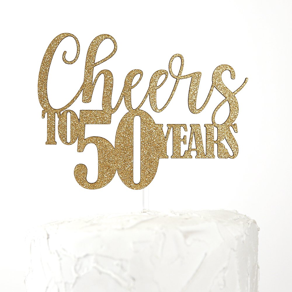 NANASUKO 50th Birthday/Anniversary Cake Topper - Cheers to 50 Years - Double Sided Gold Glitter, Premium Quality Made in USA
