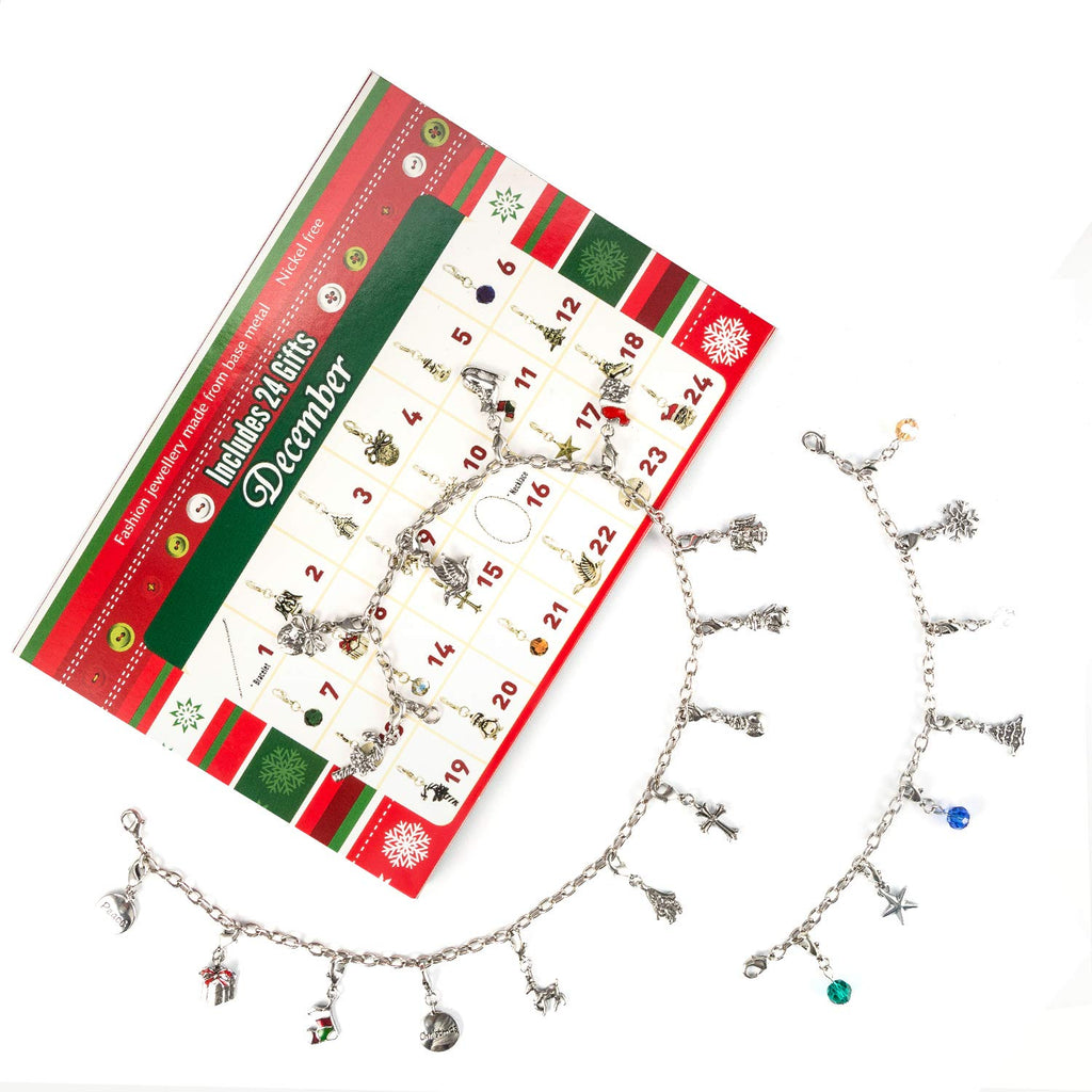Advent Calendar 2018,Charm Bracelet Necklace with 22 Charms Fashion Jewelry Christmas Advent Calendars for Kids