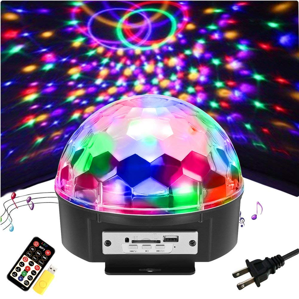 SOLMORE 9 Color LED Disco Ball Party Lights Strobe Light 18W Sound Activated DJ Lights Stage Lights for Club Party Gift Kids Birthday Wedding Decorati