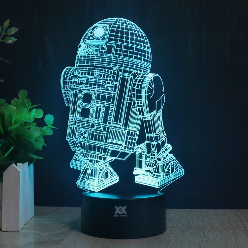 Huiyuan 3d Lamp Fuwa Force Awaken Bb-8 Night 7 Color Change Best Gift Night Light LED Furnish Desk Table Lighting Home Decoration Toys