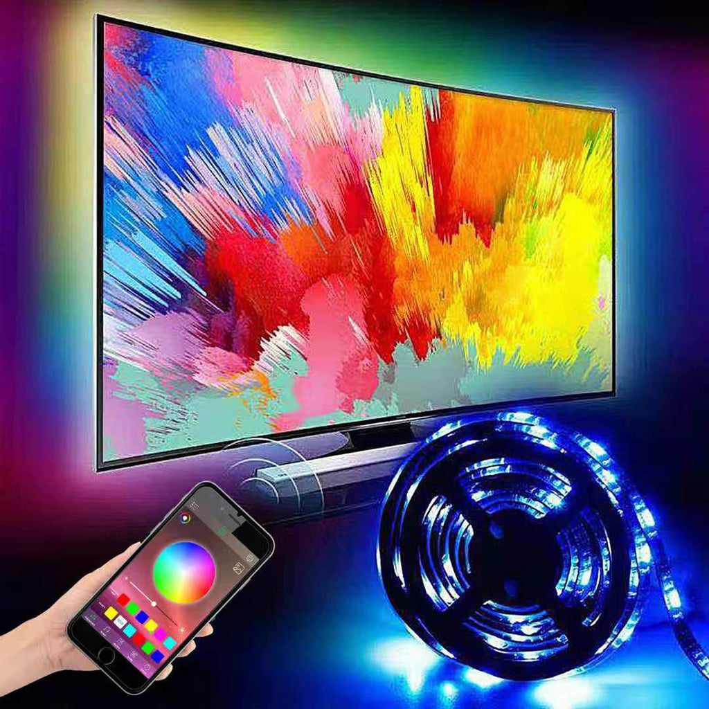 "6.5ft Backlight Light Strip Kit for 24""-60"" For TV,Mirror,PC, APP Control Sync to Music, Bias Lighting, 5050 RGB Waterproof IP65 USB LED Strip Lights"