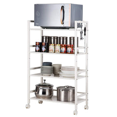 SINGAYE 4-Tier Shelving Unit Kitchen Rack Storage Cart with Easy Moving Wheels,Adjustable Microwave Storage Shelf Rolling Cart on Square Tube,55 lbs W