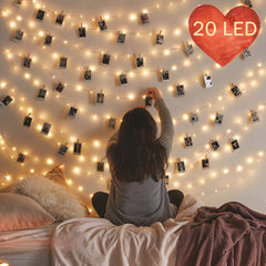 Photo Clip String Lights, 20 LED Photo Hanging Clips String, 9.8ft Photo String Lights with Clips, Fairy Lights with Clips for Pictures, 8 Modes Remot