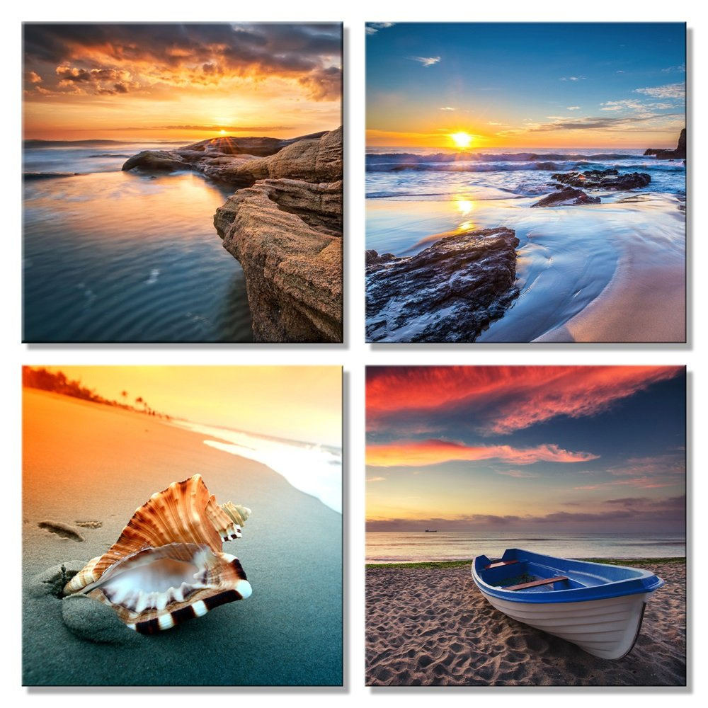 Pyradecor Sunset Sea Beach Modern Seascape Pictures Paintings on Canvas Wall Art 4 Panels Stretched and Framed Giclee Canvas Prints Artwork for Living