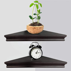 Greenco GRC3163 Corner Floating Shelves with Concealed Hardware- Espresso Finish, Set of 2