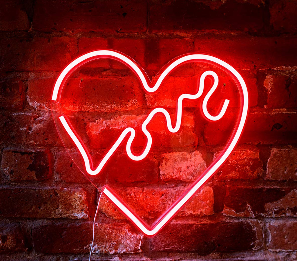 "Isaac Jacobs 14"" inch LED Neon Red ""Love"" Heart Wall Sign for Cool Light, Wall Art, Bedroom Decorations, Home Accessories, Party, and Holi"