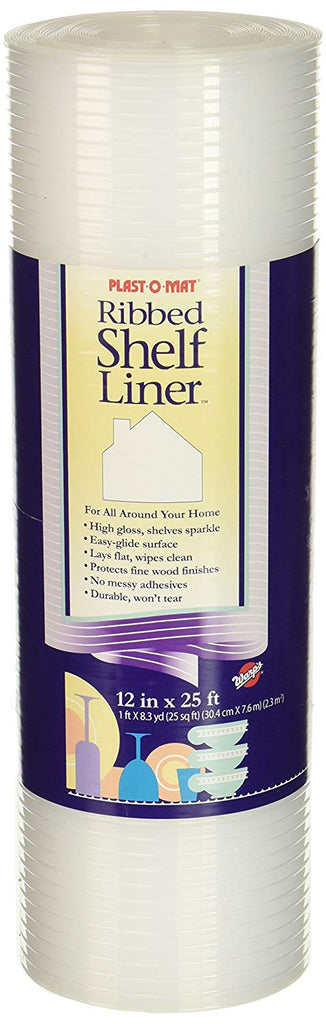 "Plast-O-Mat Ribbed Shelf Liner, Clear, 12"" x 25'"