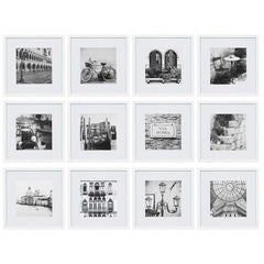 Gallery Perfect 12 Piece White Square Photo Frame Gallery Wall Kit  with Decorative Art Prints & Hanging Template