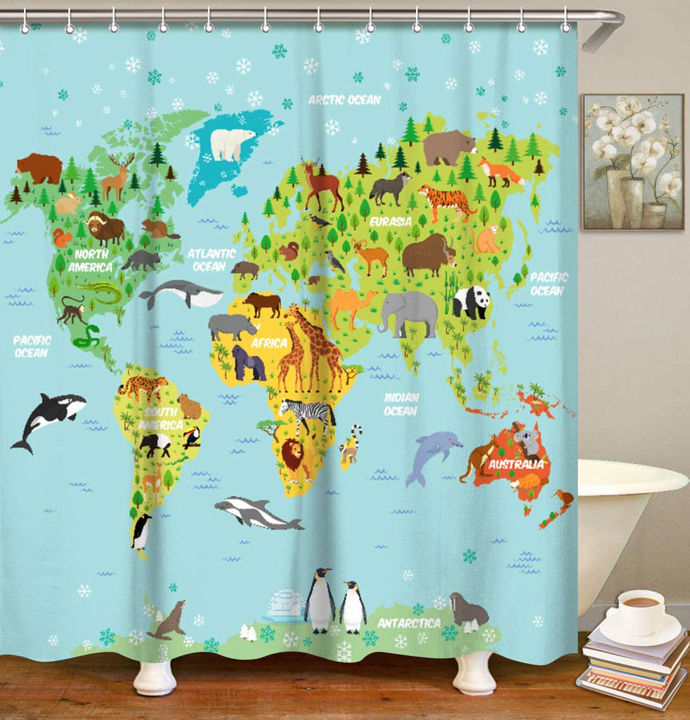 "LIVILAN World Map Shower Curtain Set with 12 Hooks Bath Curtain Home Decorations Fabric Mildew Resistant Machine Washable Privacy Curtain, 70.8"" X 70."