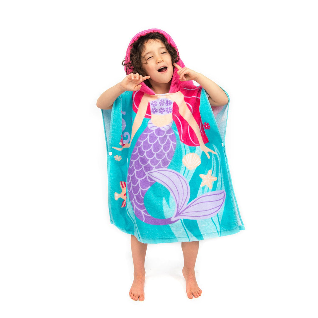 ZINGLIFE Girls Hooded Beach Towel Kids 100% Cotton Quick Dry Absorbent Use for Swim Pool Bath Hooded Poncho Towels for Children Toddler Size 24