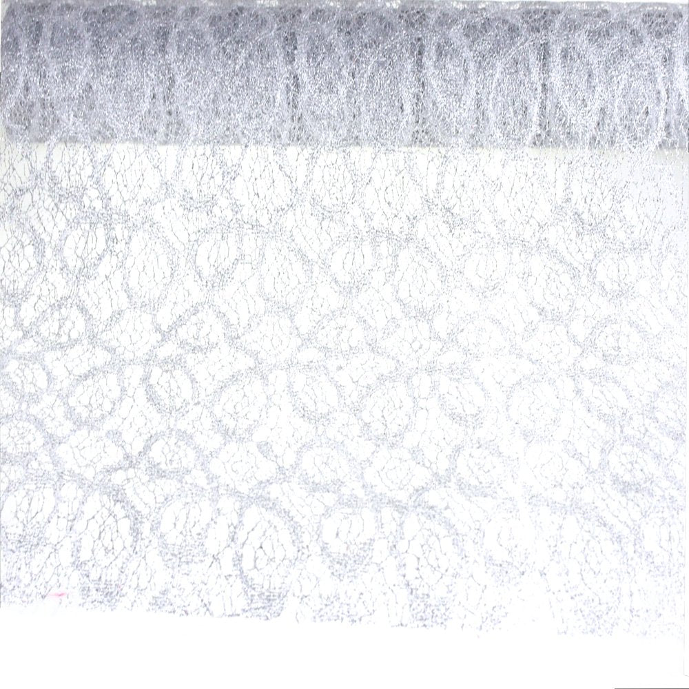 "Homeford FCR00GFN1905SLVE Vintage Glitter Lace Netting Decorating Roll 19"" Silver"