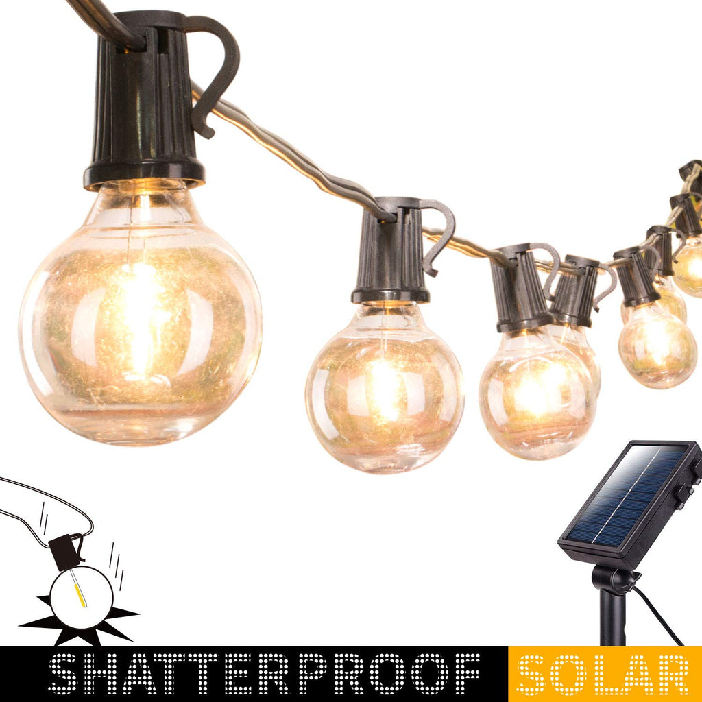 20FT G40 Solar SHATTERPROOF Patio String Lights with 20 LED Bulbs, 8 Light Modes Waterproof Indoor/Outdoor Hanging Lights for Garden Backyard Bistro P
