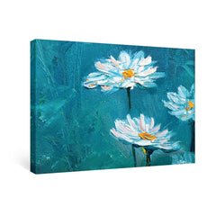 SUMGAR Blue and White Daisies Flower Prints Wall Art for Dining Room Oil Paintings Canvas Floral Framed Pictures,16''x24''