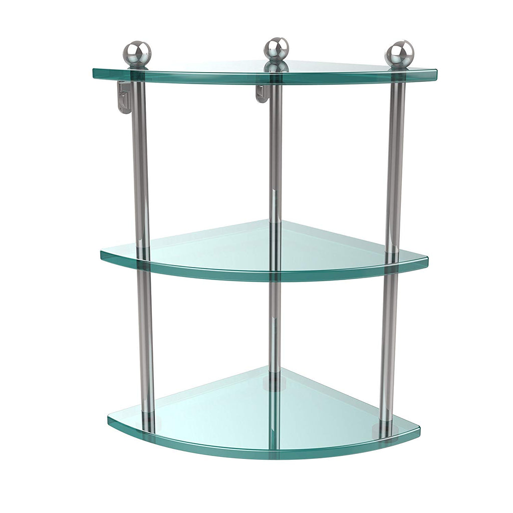 Allied Brass PR-6-PC Three Tier Corner Glass Shelf Polished Chrome