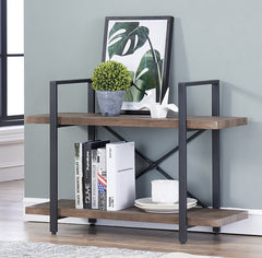 O&K Furniture 4-Shelf Vintage Industrial Bookcase, Display Rack Stand Storage Shelving Unit, Gray-Brown