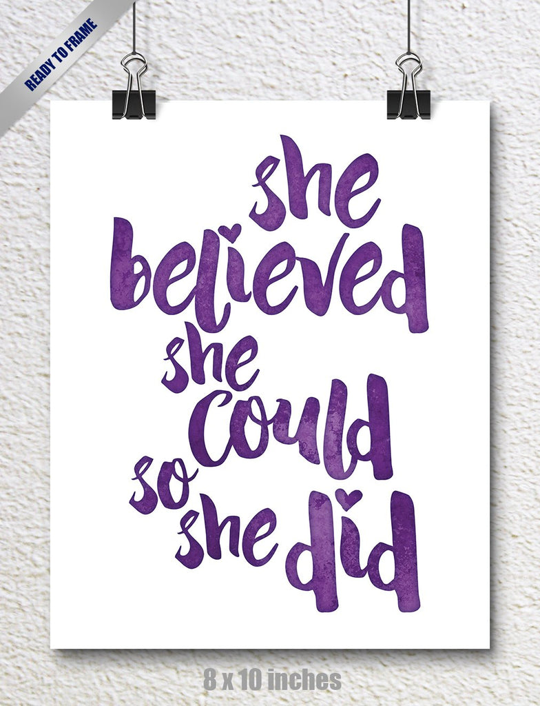 SPUNKYsoul 8 x 10 Inch She Believed She Could So She Did Purple Watercolor Art Print Inspirational Modern Wall Art Poster Decor for Women, Teens and G