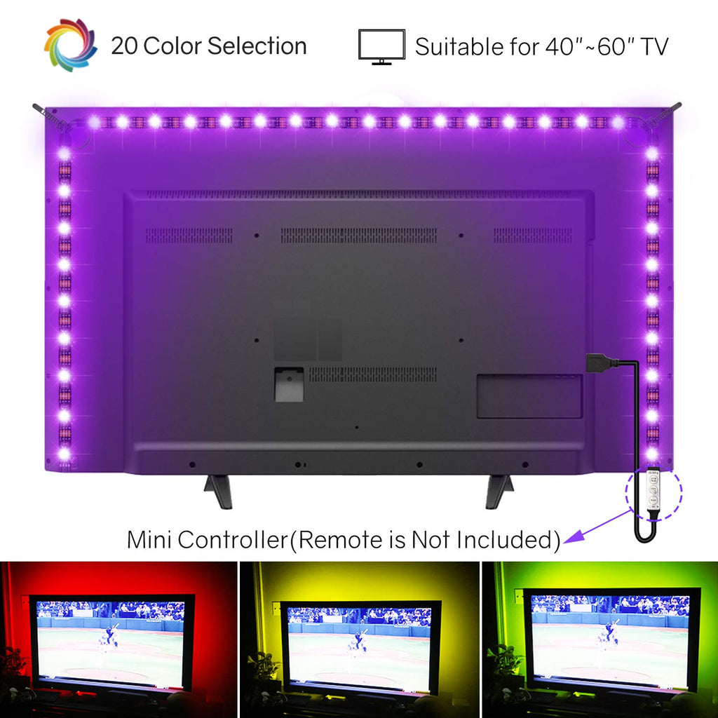 Hitlights LED TV Backlights, 6.56ft LED Strip Lights USB Output RGB Premium LED Lights Strip Kit, Color Changing Strips for 40 ~60  Television, Improv