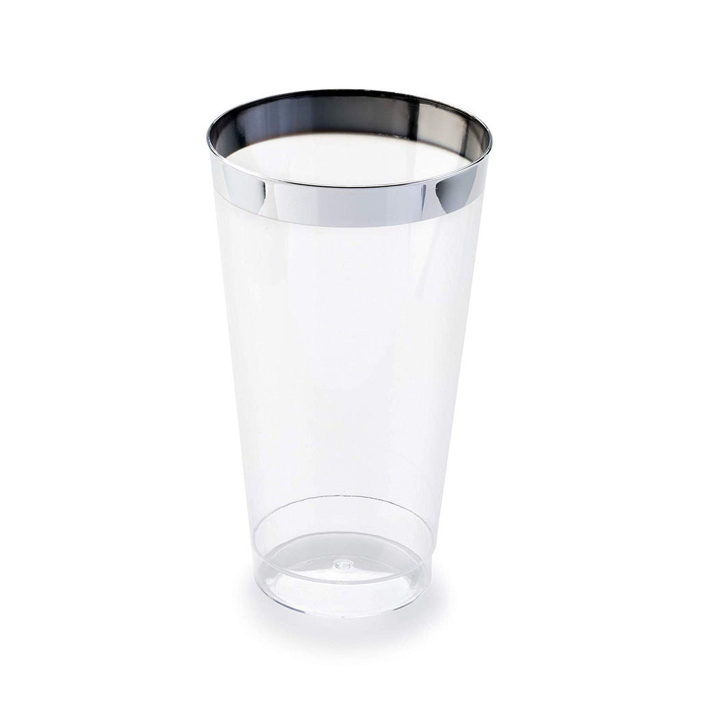 """ Occasions"" 400 pcs Wedding Party Disposable Plastic tumblers/Cups (16 Oz Silver Rimmed Tumbler)"