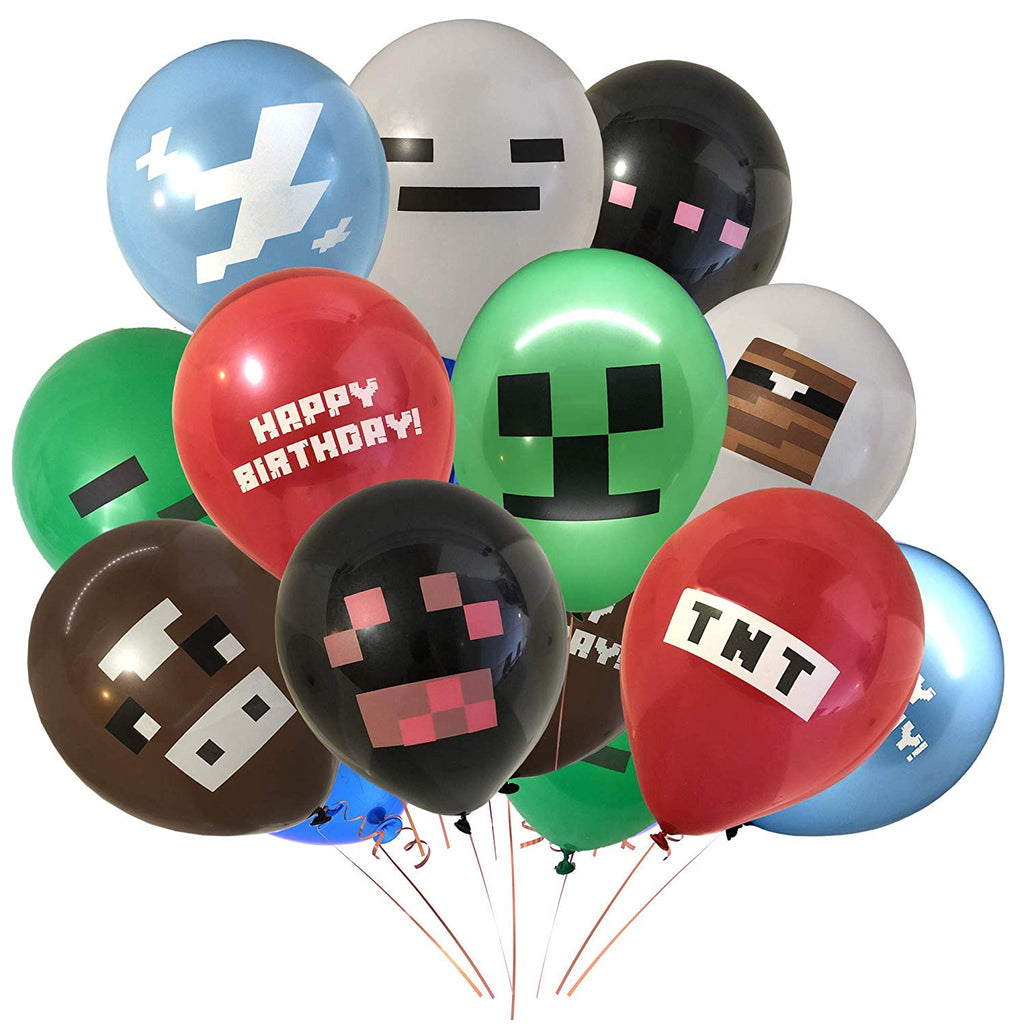 "Giant 24 Pack of Pixel Miner Crafting Style Gamer Party Balloons - Double Sided Designs! Large 12"" Latex Balloon Birthday Party Supplies - TNT, Cow, G"