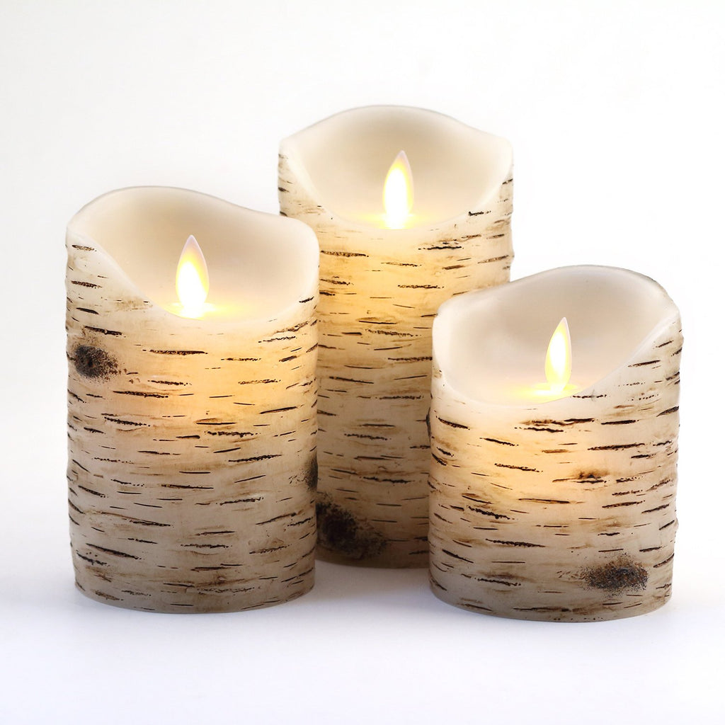 "Flameless Candles With Birch effect 4"" 5"" 6"" Set of 3 Drip-less Real Wax Pillars Include Realistic Dancing LED Flames and 10-key Remote Control with 2"