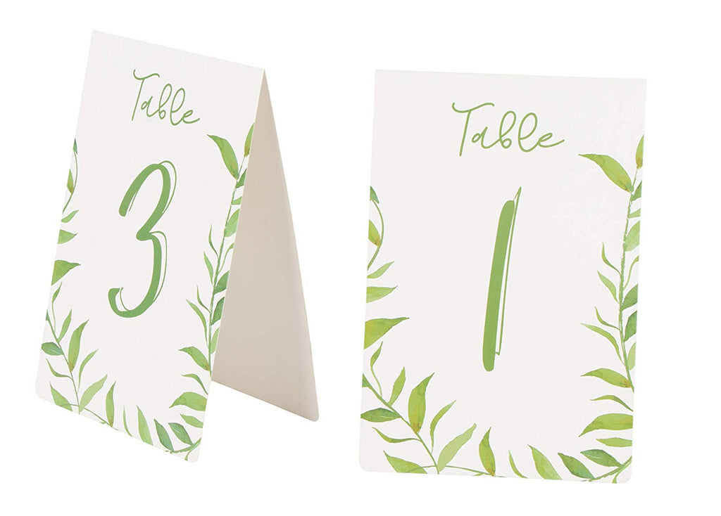 Juvale Greenery Table Number Cards, 1-25 Wedding Tent Style Watercolor Table Cards, Double Sided, Greenery Reception Party Decoration, 4 x 6 Inches