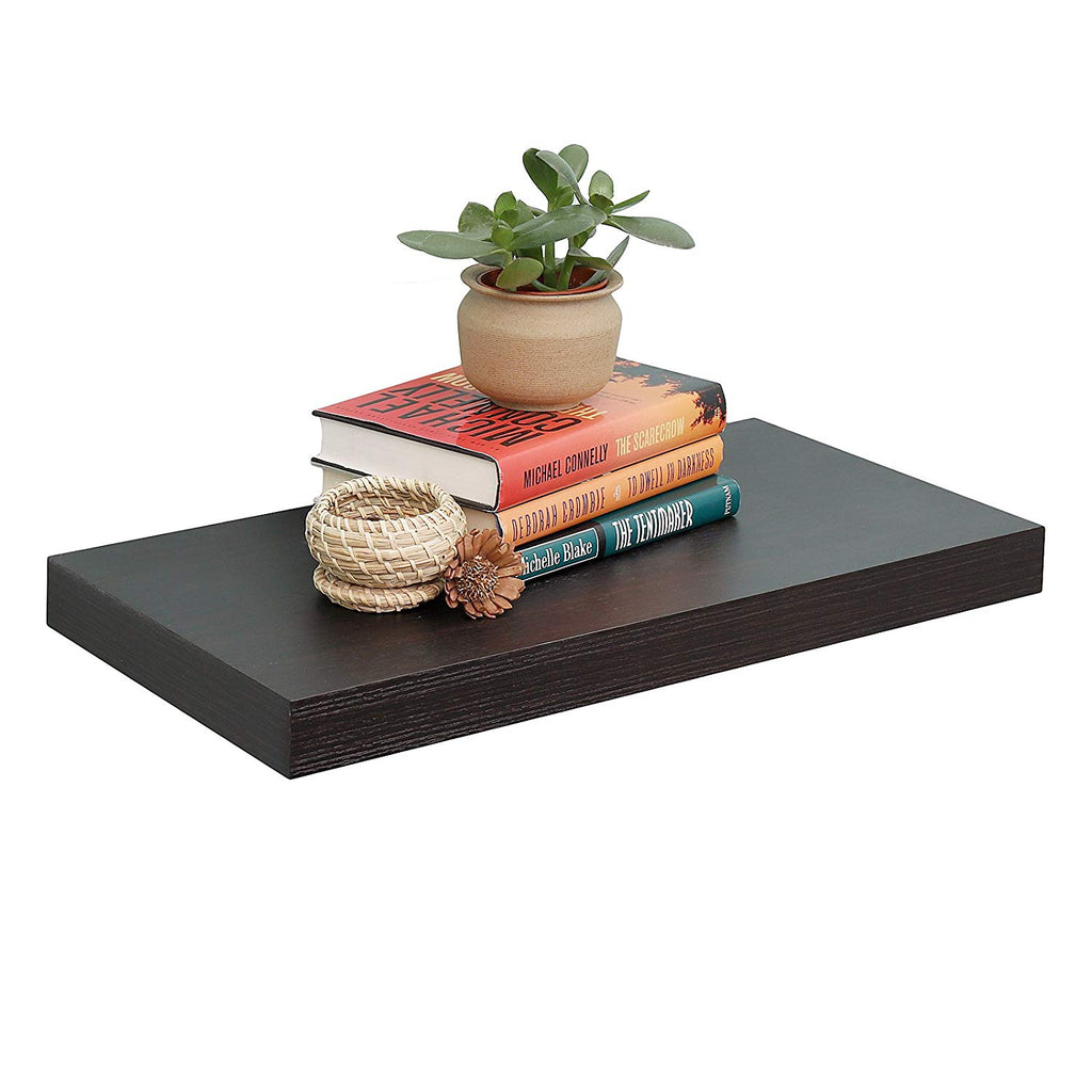 "WELLAND 12"" Deep Floating Wall Shelf Display Floating Shelf, 24"" L x 12"" D x 2"" T, Deeper Than Others, Espresso"