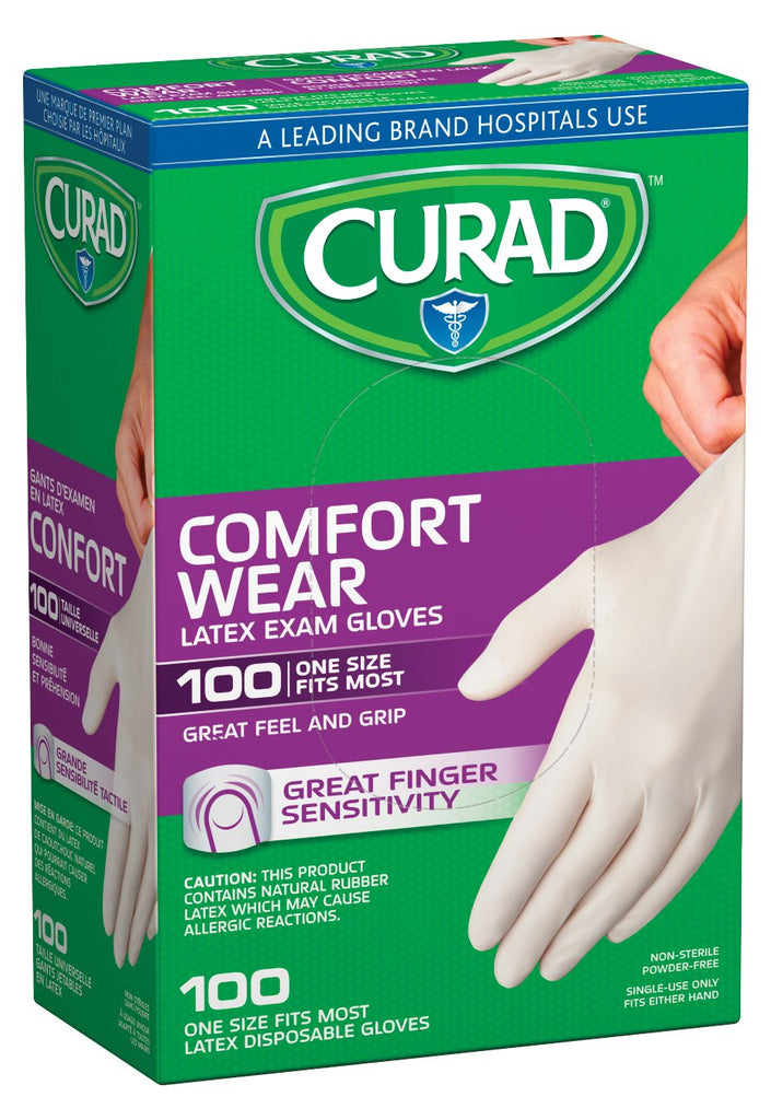 Curad CUR4125R Latex Exam Gloves, One Size Fits Most (Pack of 100)