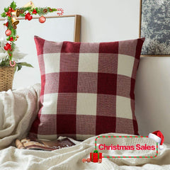 MIULEE Christmas Decoration Classic Retro Checkers Plaids Cotton Linen Soft Soild Decorative Square Throw Pillow Covers Home Decor Design Cushion Case