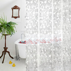 Aoohome Extra Long Shower Curtain Liner, Eva Cobblestone Pattern Bath Curtain with 3 Bottom Magnets, Mildew Resistant, Semi-Transparent, 72 x 96 Inch