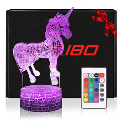 Night Light for Kids New Version 3D Lamp Jurassic Dinosaur Toy, Remote Control, Dimmable, Battery or USB Powered, 7 Colors Change Christmas Gift for B