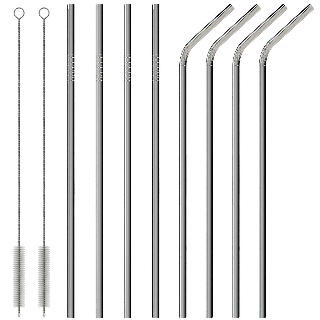 Reusable Metal Stainless Steel Straws – Drinking Curved & Straight Long Reuseable Dishwasher Safe For 30 oz Large Tumbler Drinks Plastic Free Si