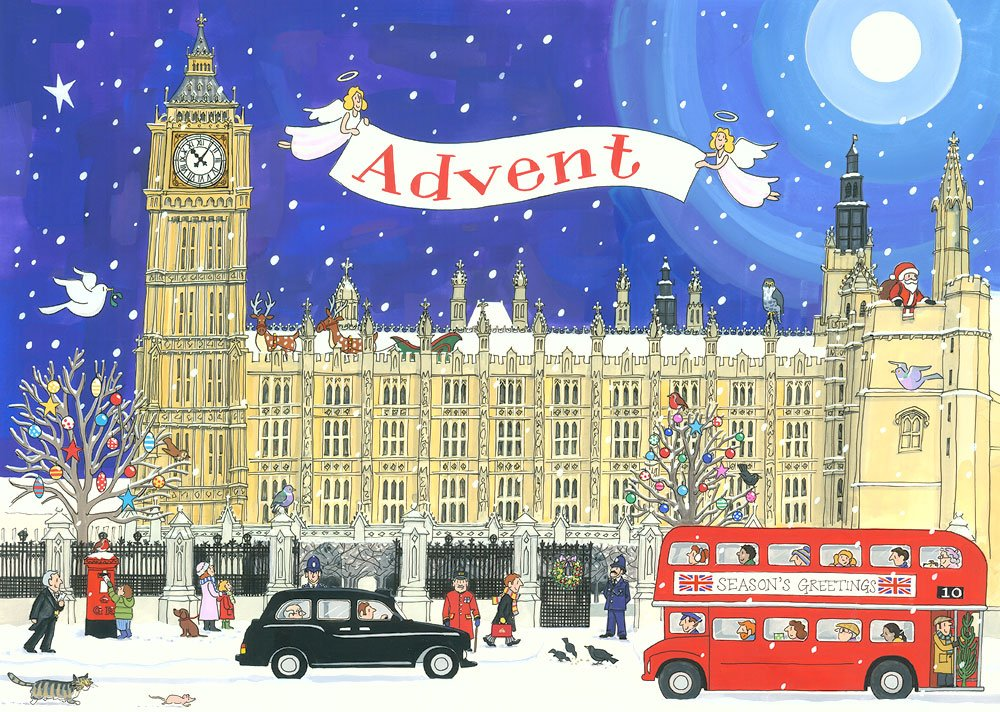 Alison Gardiner Famous Illustrator Unique Traditional Advent Calendar - Designed in England - Festivities at The Palace of Westminster