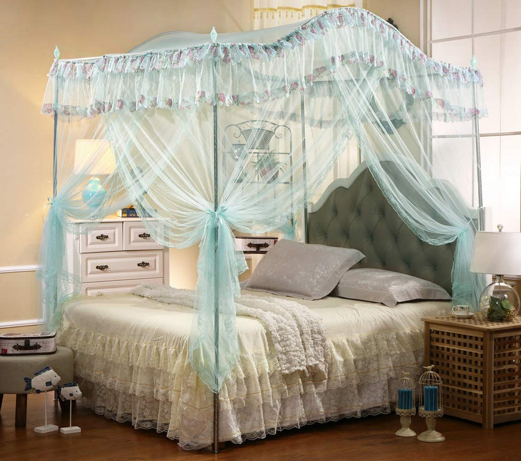 Mengersi Arched 4 Corners Post Bed Curtain Canopy Mosquito Net Square  Princess Fly Screen, Indoor