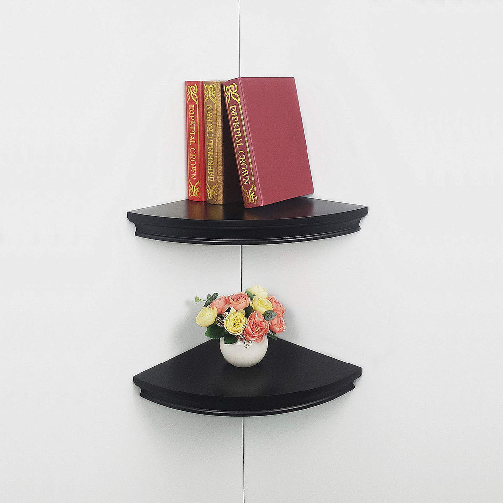 "HAO Set of 2 Classic Radial Corner Wall Shelf Contoured Shelving MDF Floating Corner Shelves Approx.12"" Black"