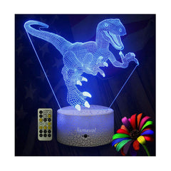 Dinosaur Night Lights for Kids Christmas Gift Birthday Indoraptor Toy 3D Illusion Lamp Led Animal Light Gifts for Boys Home Bedroom Party Supply Decor