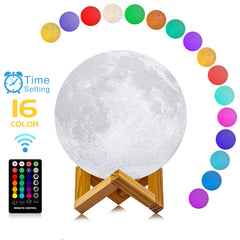 Moon Lamp, LOGROTATE 16 Colors LED 3d Print Moon Light with Stand & Remote&Touch Control and USB Rechargeable, Moon Light Lamps Night Lights for Baby