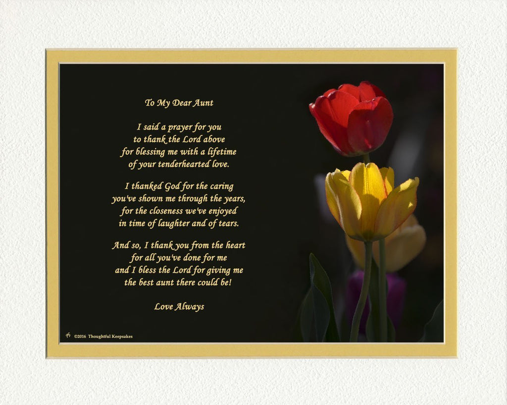 "Gift for Aunt with ""Thank You Prayer for Best Aunt"" Poem. Red & Yellow Tulips Photo, 8x10 Double Matted. Special Aunt Gift for Christmas, Birthday"