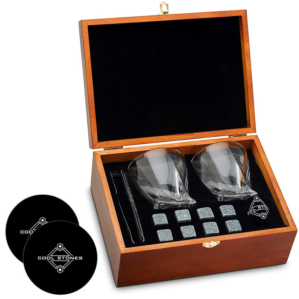 Whiskey Stones and Whiskey Glass Gift Boxed Set - 8 Granite Chilling Whisky Rocks + 2 Crystal Glasses in Wooden Box - Great Gift for Father's Day, Dad