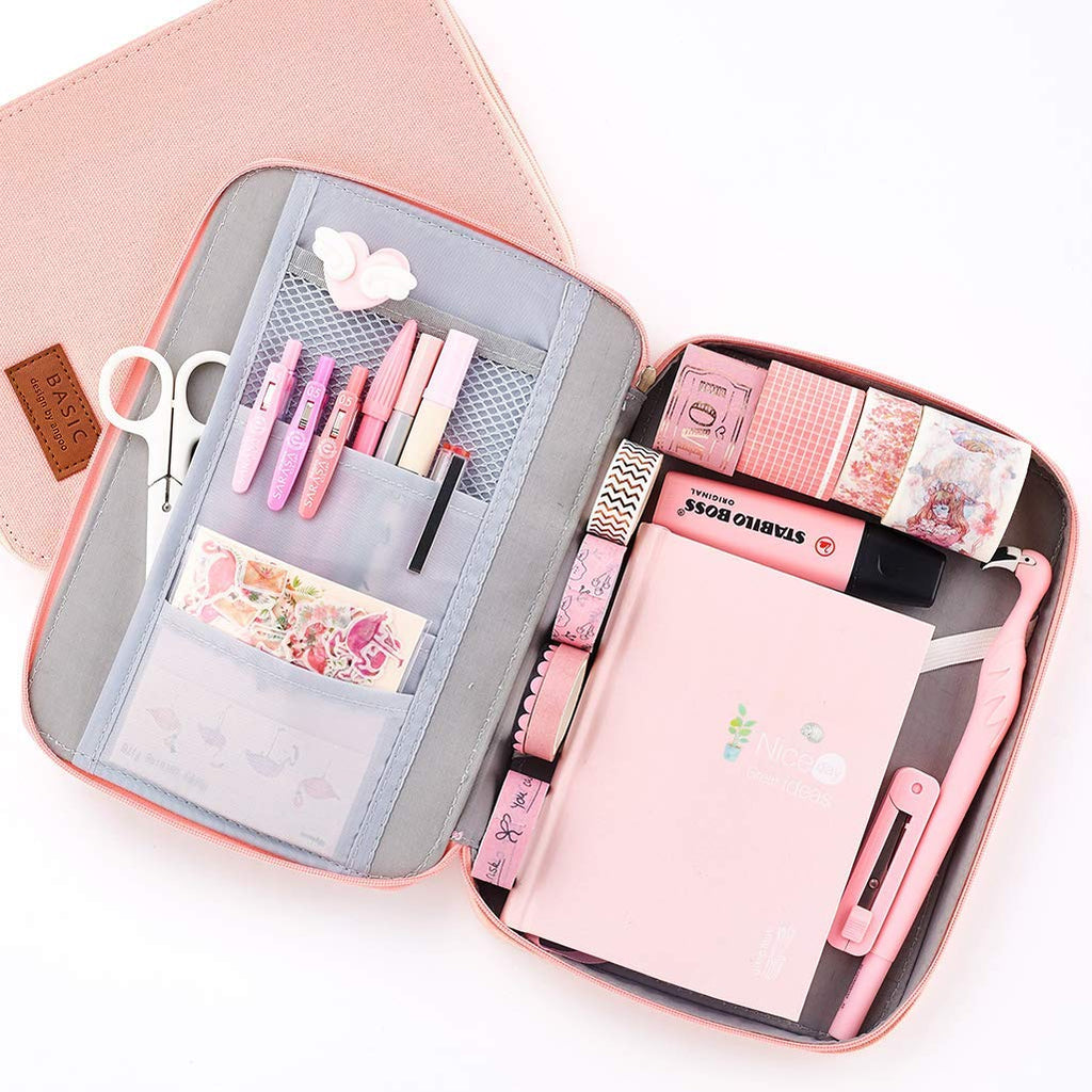 Aineeba Big Capacity Pencil Pen Case Pouch Box Organizer Large Storage for Bullet Journal (Pink)