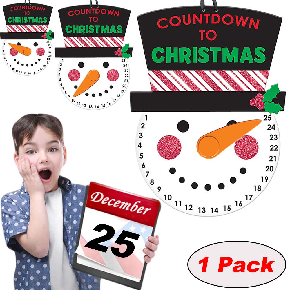 Macute Christmas Advent Calendar Countdown to Christmas Hanging Wall Snowman Calendar Sign with Black Hat and Rotating Nose Pointer Door Decor Window