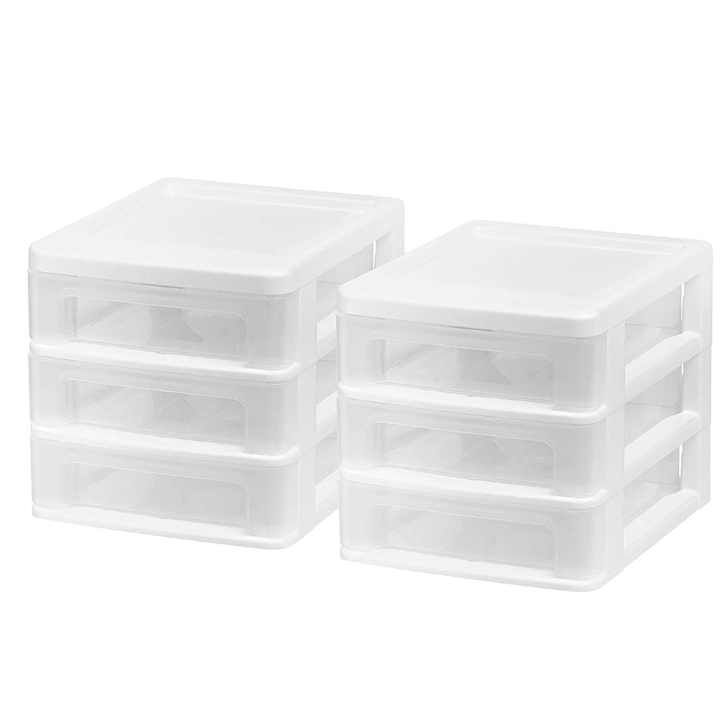 IRIS USA, Inc. CDD-XS3 Mini Desktop 3-Drawer Unit, White, 2 Pack
