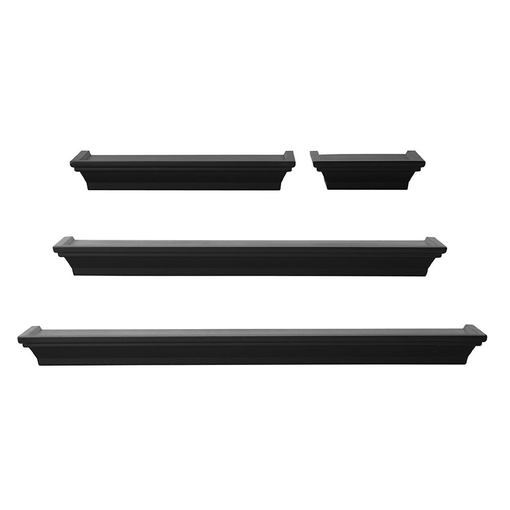 MELANNCO Floating Wall Mount Molding Ledge Shelves Set of 4 Black