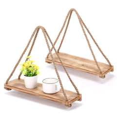 MaidMAX Floating Shelves, Rustic Wood Hanging Plant Rope Shelf with 60-Inch Ropes, Set of 2
