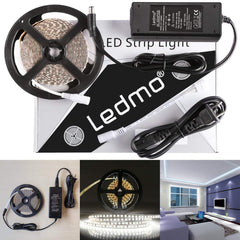 LEDMO LED Strip Lights, SMD2835 White, LED Ribbon, Dimmable, Non-Waterproof, DC12V 600LEDs 16.4 Ft Decoration LED Tape Ribbon, Include Power Supply
