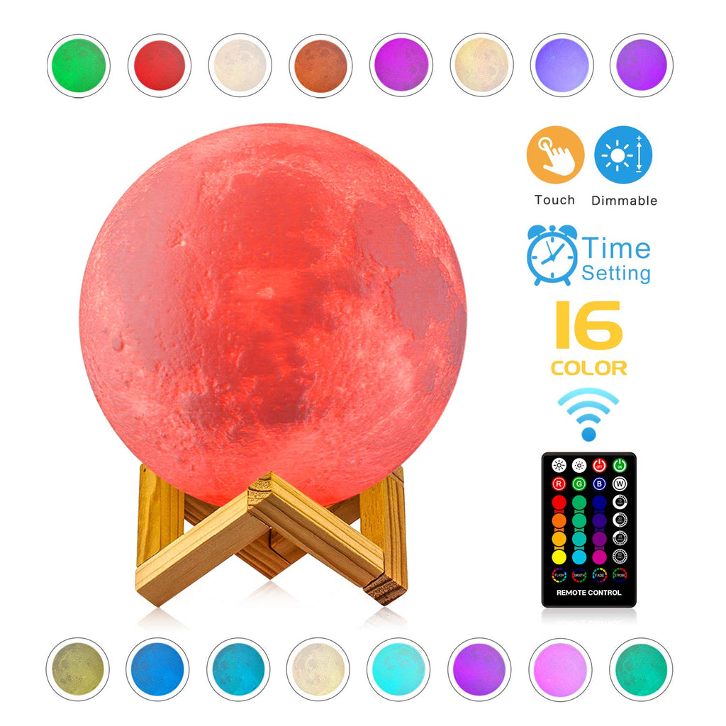 3D Moon Lamp - 16 LED Colors, Dimmable, Rechargeable Lunar Night Light (Large, 5.9 inch) Full Set with Wooden Stand, Remote & Touch Control - Cool Nur