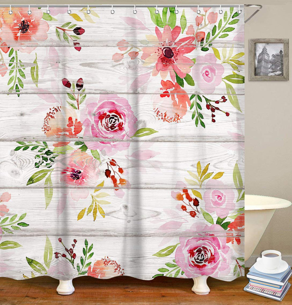 "Livilan Pink Flower Shower Curtain Set with 12 Hooks Fabric Bath Curtains Decorative Thick Bathroom Curtain 70.8"" x 70.8"""