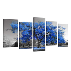 Kreative Arts Canvas Print Wall Art Painting Contemporary Blue Tree in Black and White Style Fall Landscape Picture Modern Giclee Stretched and Framed