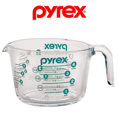 Pyrex 4-Cup Measuring Cup, Clear with Turquoise / Teal Measurements
