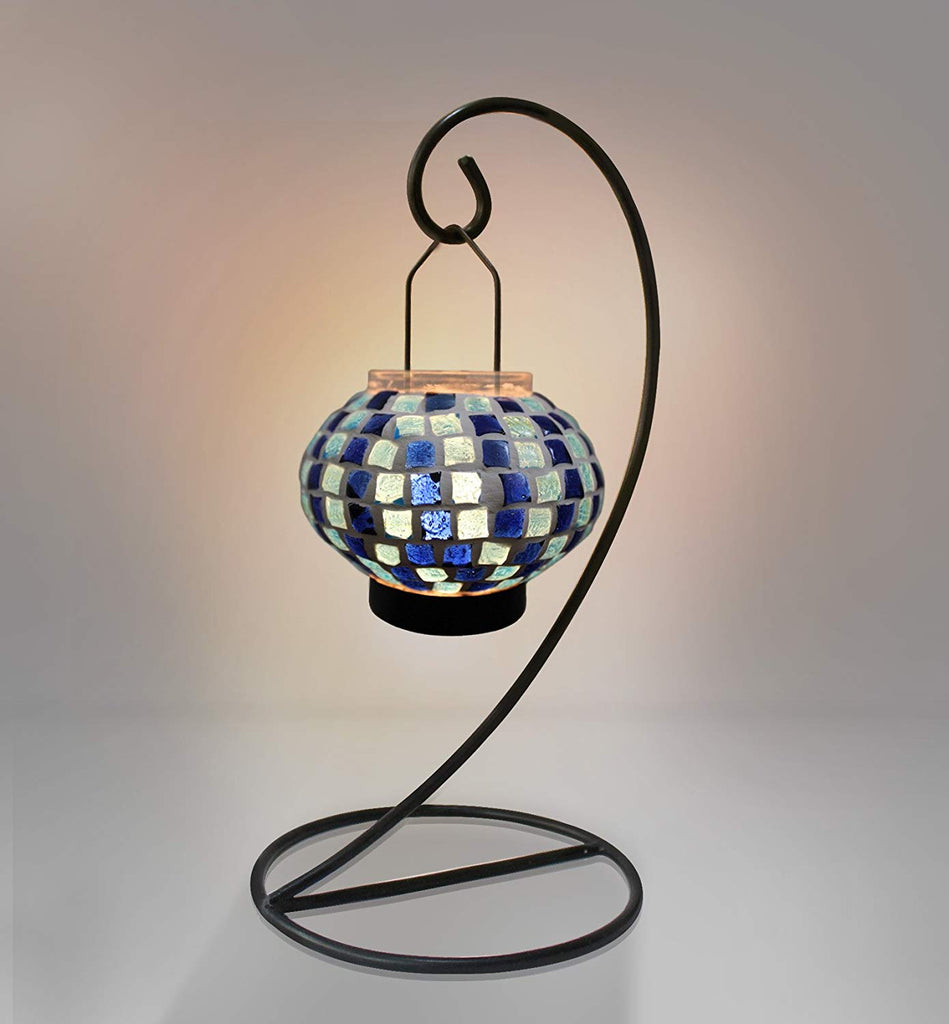 TiedRibbons Mosaic Glass Tealight Candle Holder Lantern with Iron Stand for Home Decoration, Christmas Lighting and House Warming (28 cm X 13 cm, Glas